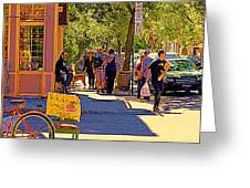 French Bread On Laurier Street Montreal Cafe Scene Sunny Corner With Vente De Garage Sign Greeting Card