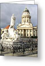 French Cathedral And Statue Gendarmenmarkt Germany Greeting Card