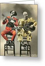 French Clown Musicians Vintage Art Reproduction Tint Greeting Card