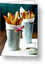 French Fries Fly-by Greeting Card by Snake Jagger