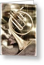 French Horn Antique Classic Painting In Color 3428.02 Greeting Card