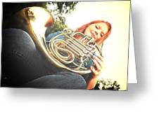 French Horn Below Greeting Card