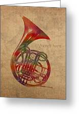 French Horn Brass Instrument Watercolor Portrait On Worn Canvas Greeting Card