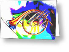 French Horn Painting Antique Classic In Color 3426.02 Greeting Card