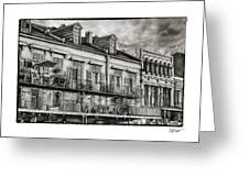 French Market View In Black And White Greeting Card
