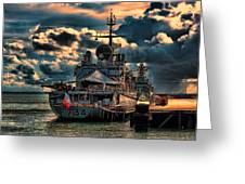 French Naval Frigate Greeting Card