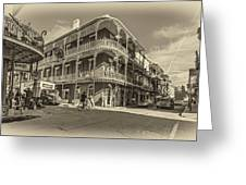 French Quarter Afternoon Sepia Greeting Card