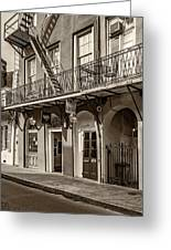 French Quarter Art And Artistry Sepia Greeting Card