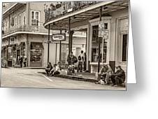 French Quarter - Hangin' Out Sepia Greeting Card