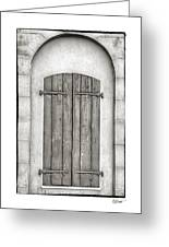 French Quarter Shutters In Black And White Greeting Card