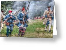 French Soldiers Battle Fury Fort Ligonier Greeting Card