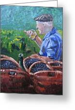 French Vineyard Worker Greeting Card by Kendal Greer