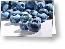 Fresh And Natural Blueberries Close Up On White Greeting Card