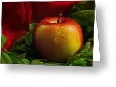 Fresh Apple On Silk Greeting Card
