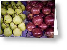 Fresh Apples And Pears On A Street Fair In Brazil Greeting Card