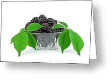 Fresh Blackberries In Glass Bowl Greeting Card