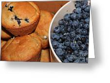 Fresh Blueberries And Muffins Greeting Card