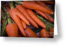 Fresh Carrots On A Street Fair In Brazil Greeting Card