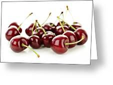 Fresh Cherries On White Greeting Card by Elena Elisseeva