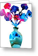 Fresh Cut - Vibrant Flowers Floral Painting Greeting Card