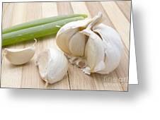 Fresh Garlic And Green Onion Greeting Card