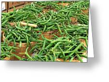Fresh Green Beans In Baskets Greeting Card by Teri Virbickis