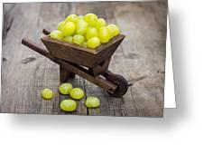Fresh Green Grapes In A Wheelbarrow Greeting Card