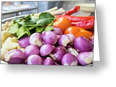 Fresh Ingredients For Cooking Chicken Curry Sauce Closeup Greeting Card