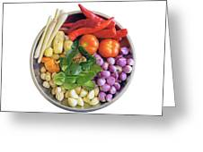 Fresh Ingredients For Cooking Curry Sauce Greeting Card