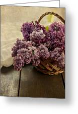 Fresh Lilacs In Brown Basket Greeting Card