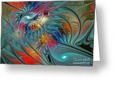 Fresh Mints And Cool Blues-abstract Fractal Art Greeting Card by Karin Kuhlmann
