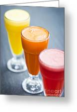 Fresh Orange Carrot And Watermelon Fruit Juice Greeting Card