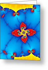 Fresh Orange Red And Blue Abstract Fractal Art Greeting Card
