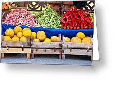 Fresh Organic Fruits And Vegetables At A Street Market Greeting Card