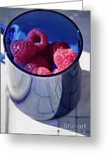 Fresh Raspberries In A Blue Cup Greeting Card