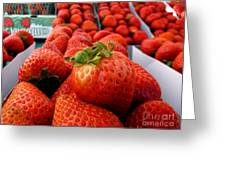 Fresh Strawberries Greeting Card by Peggy Hughes