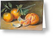 Fresh Tangerine Slices Greeting Card by Theresa Shelton