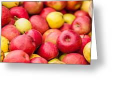 Freshly Harvested Colorful Crimson Crisp Apples On Display At Th Greeting Card