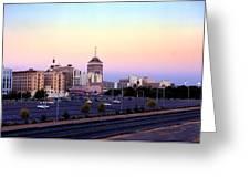 Fresno Skyline Into The Evening Greeting Card