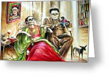 Frida And Diego With Pet Monkey Greeting Card
