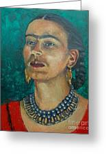 Frida Teal Greeting Card by Lilibeth Andre