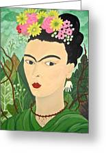 Frida With Flowers Greeting Card