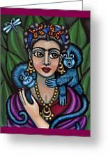 Frida's Monkeys Greeting Card by Victoria De Almeida