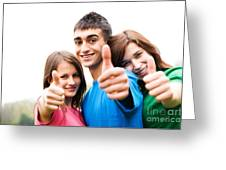 Friends Showing Thumb Up Sign Greeting Card