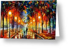 Friendship - Palette Knife Oil Painting On Canvas By Leonid Afremov Greeting Card