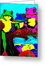 Frog Family Hanging Out On A Limb3 Greeting Card
