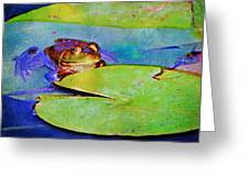 Frog - On A Water Lily Pad Greeting Card