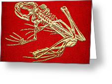 Frog Skeleton In Gold On Red  Greeting Card