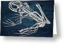 Frog Skeleton In Silver On Blue  Greeting Card