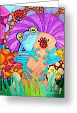 Frog Under A Mushroom Greeting Card